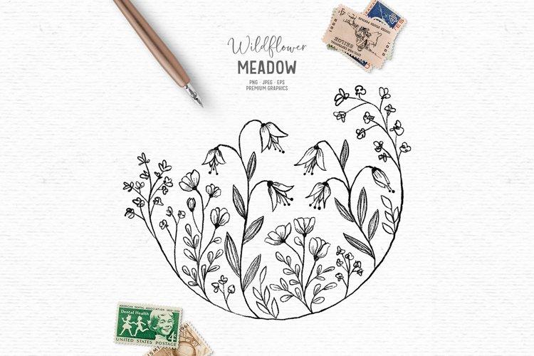 Hand-drawn floral digital stamp | Boho wildflower clipart