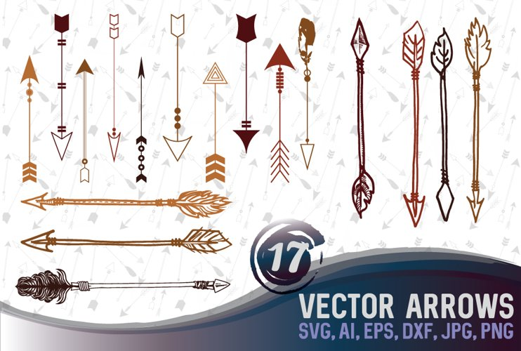 17 different arrow designs SVG, DXF, JPG, PNG, DWG, AI, EPS