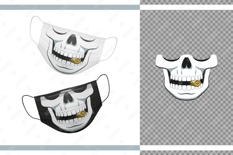 Funny skull design with Bullet for protective face mask. example image 1