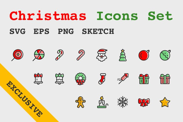 Christmas New Year Icons Set example image 1
