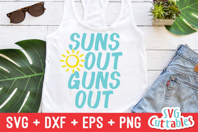 Summer SVG   Suns Out Guns Out   Shirt Design example image 1