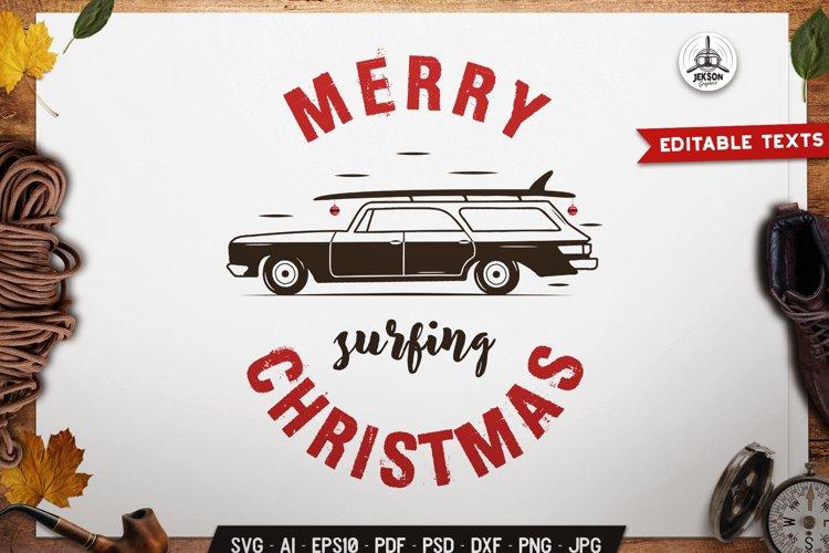 Merry Surf Christmas SVG Cricut T-Shirt, Retro Design Xmas example image 1