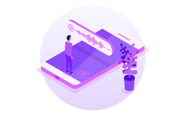 Voice Messages Isometric, event notification. example image 1