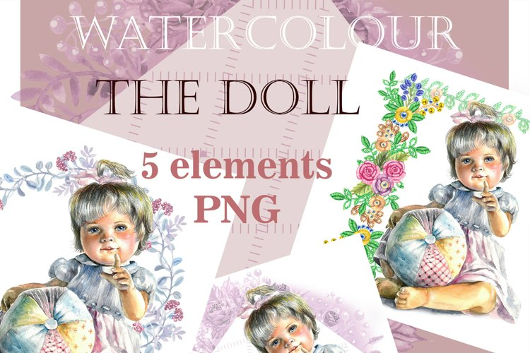 Art Baby Funny, Doll clipart, Watercolor clipart-cute doll example image 1