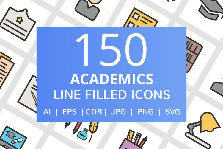 150 Academics Filled Line Icons example image 1