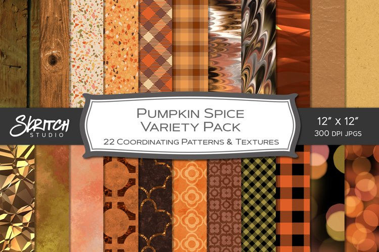 Pumpkin Spice Variety Pack - 22 Fall Patterns and Textures example image 1