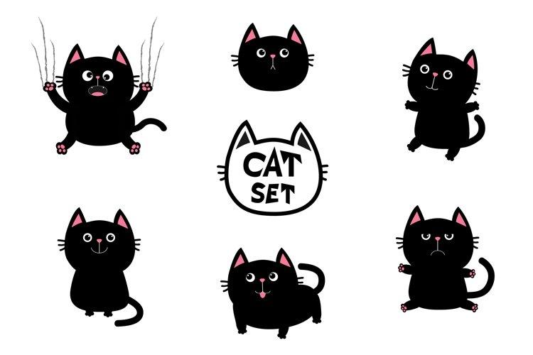 Cute black fat cat set. Vector illustration example image 1