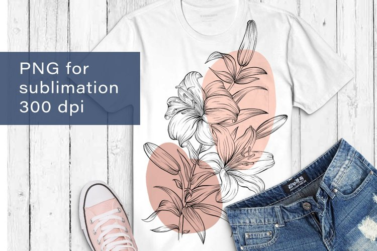 Flowers sublimation, hand drawn lillies PNG example image 1