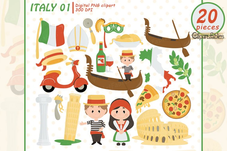 ITALY clipart, Rome clip art, Pizza, Pisa tower, Colosseum example image 1