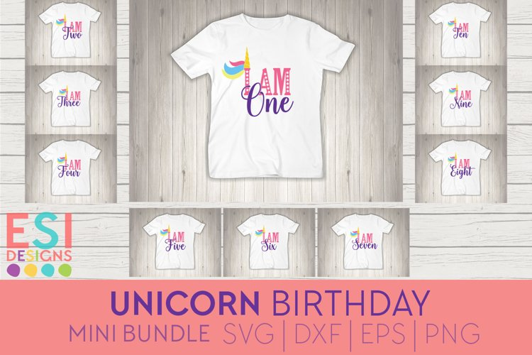 Unicorn Birthday Mini Bundle | SVG, DXF, EPS, PNG