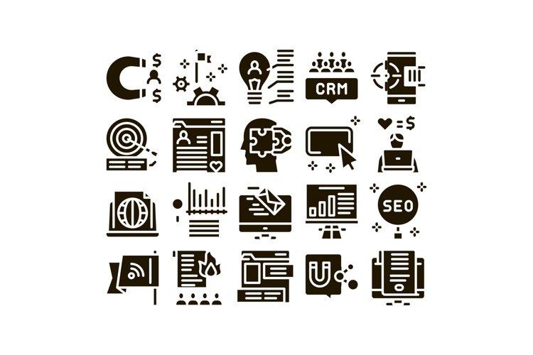 Inbound Marketing Glyph Set Vector example image 1