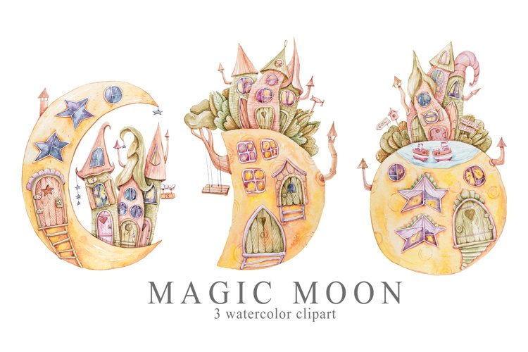 Watercolor moon phase house clipart. Nursery illustration