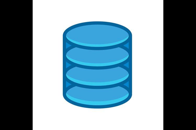 Database symbol blue icon vector illustration example image 1