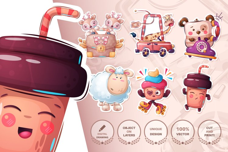 Set cute sticker - seamless pattern example image 1