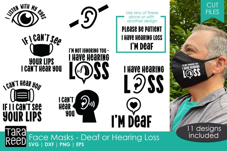 Face Mask Sayings for the Deaf or Hard of Hearing - SVG plus