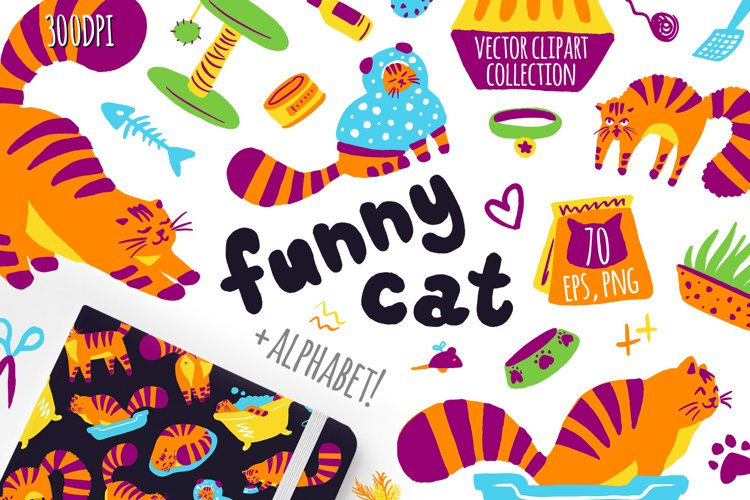 Funny Cats clipart vector collection