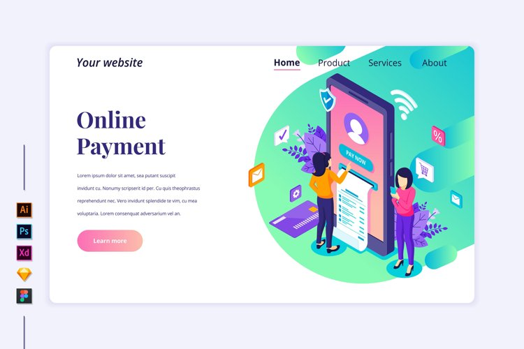 Isometric Online Payment Landing page illustration