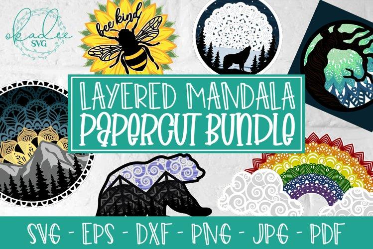 Layered Mandala Bundle, 3D Mandala, Papercut, Rainbow SVG example image 1