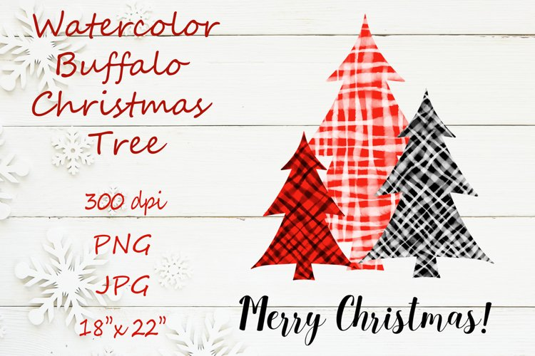 Watercolor buffalo Christmas tree sublimation PNG design example image 1