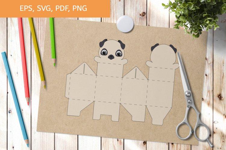 Cute Pug Dog Gift Box Template SVG, Gift Box SVG example image 1