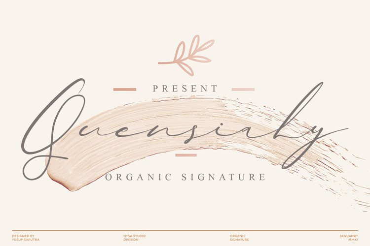 Quensialy - Organic Signature Font example image 1