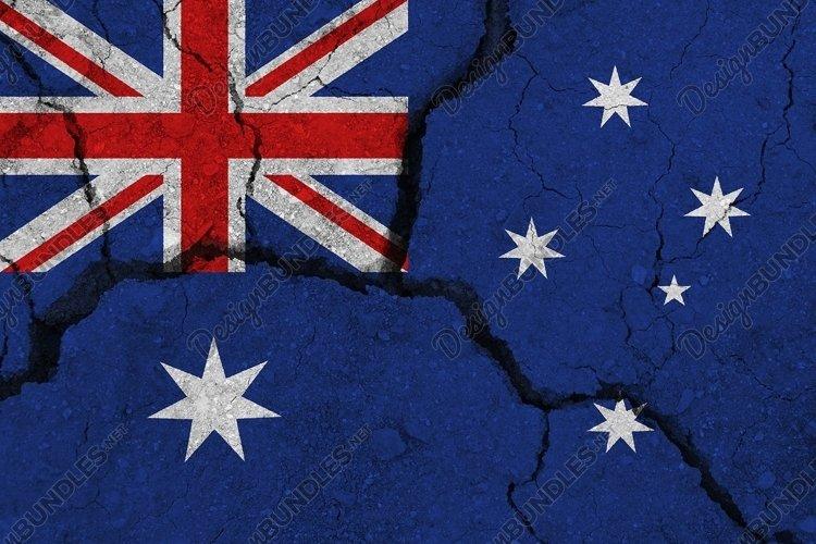 Australia flag on the cracked earth.