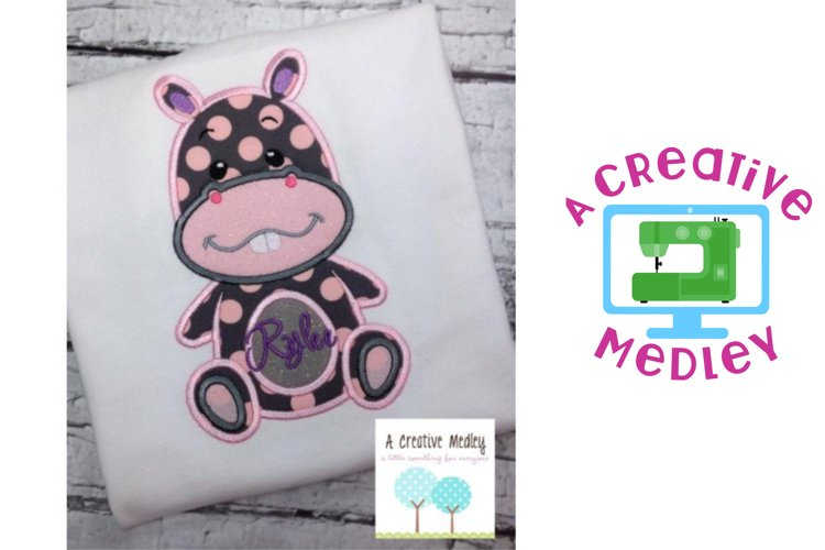 Peekaboo Hippo Applique example image 1