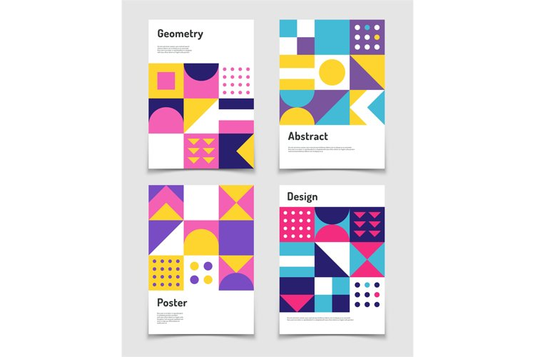 Vintage swiss graphic, geometric bauhaus shapes. Vector post