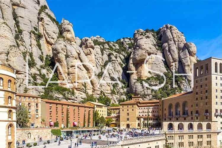 Top view of Santa Maria de Montserrat Abbey, Spain