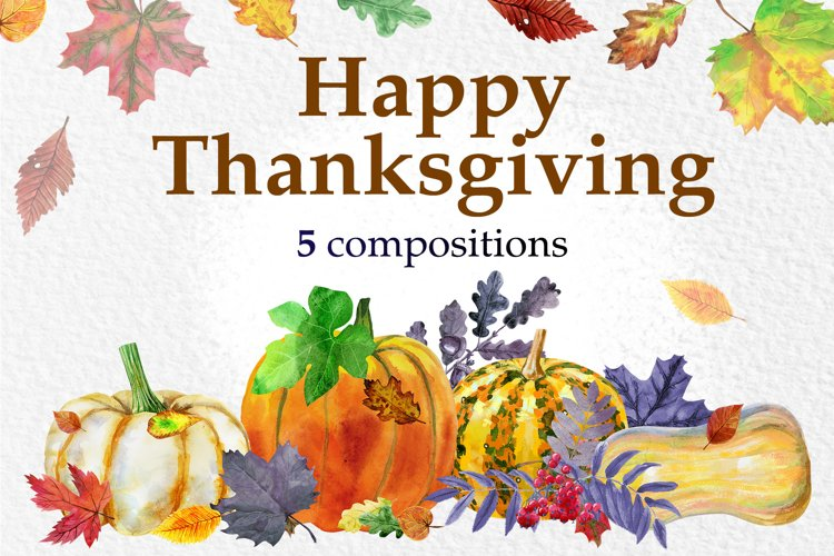 Watercolor Thanksgiving day example image 1
