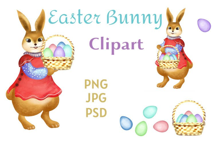 Easter Bunny Clipart with Basket of Eggs example image 1