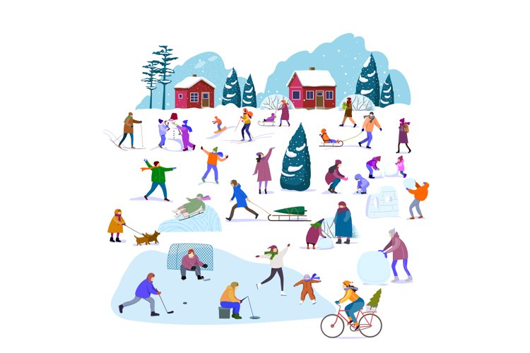 Set of people involved in the winter active lifestyle. example image 1