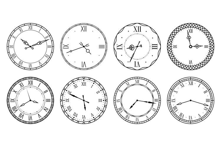 Retro clock face. Antique elegant dial with roman numerals c example image 1