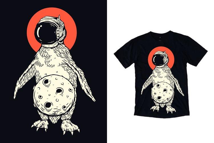 Penguin with astronaut helmet and moon t shirt design