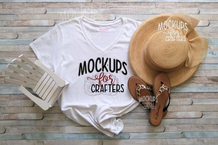 MOCK-UP - Woman's Gildan V-neck - summer theme example image 1