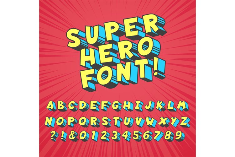 Super hero comics font. Comic graphic typography, funny supe example image 1