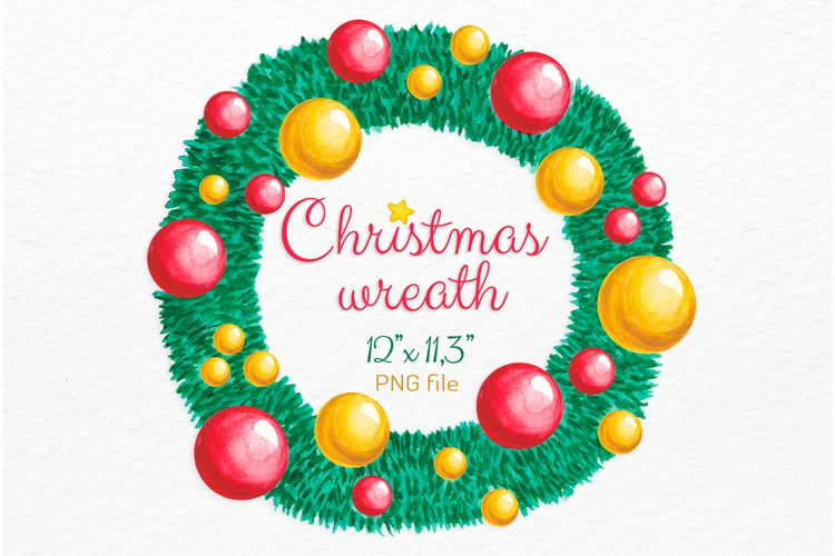 Christmas wreath Watercolor Christmas Holiday decor clipart example image 1