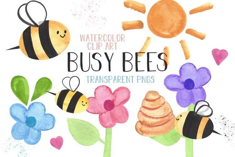 Honey Bee Illustrations Watercolor Clip Art Bumble Bee Set