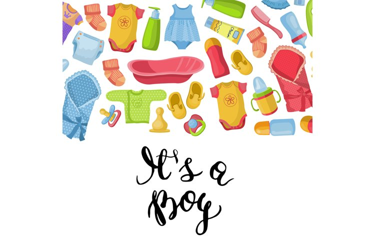 Vector it is a boy illustration with lettering and baby acce example image 1