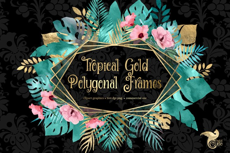 Tropical Gold Polygonal Frames Clipart example image 1