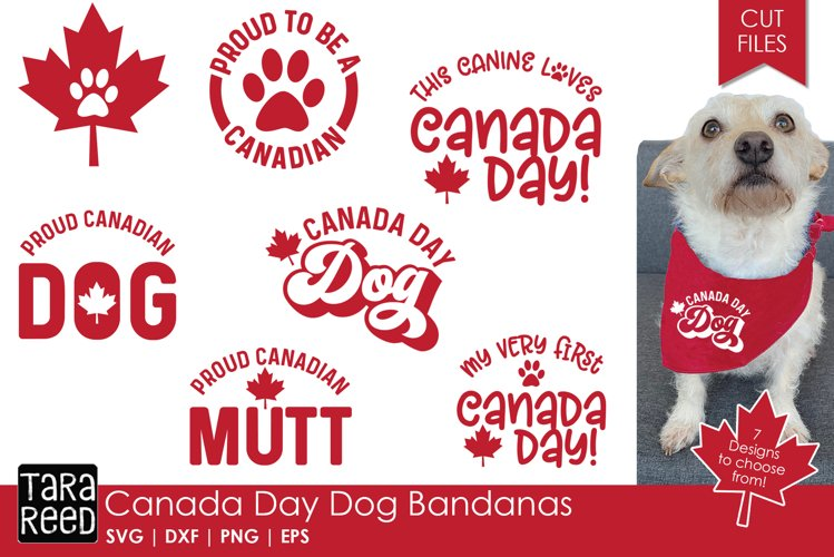 Canada Day Dog Bandanas - SVG & Cut Files for Crafters