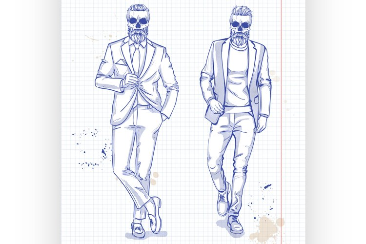 Vector set of two men with skull, beard, moustaches example image 1