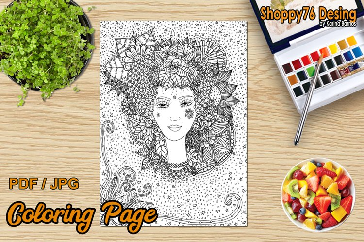 Goddess Flora / Coloring Page example image 1