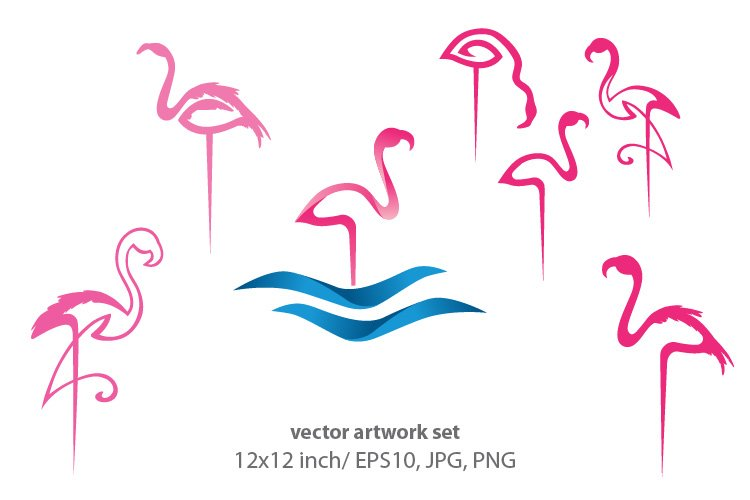 Abstract pink flamingo - vector artwork set example image 1