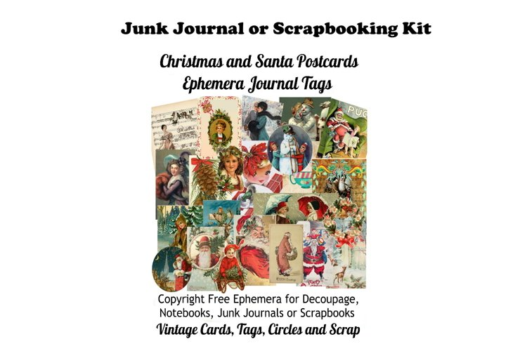 Vintage Christmas Junk Journal or Scrapbook Add Ons Kit PDF example image 1