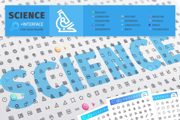 Science 700 Line Icons Bundle example image 1