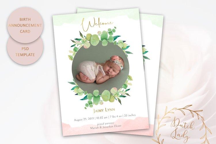 PSD Birth Announcement Card Template - Design #7