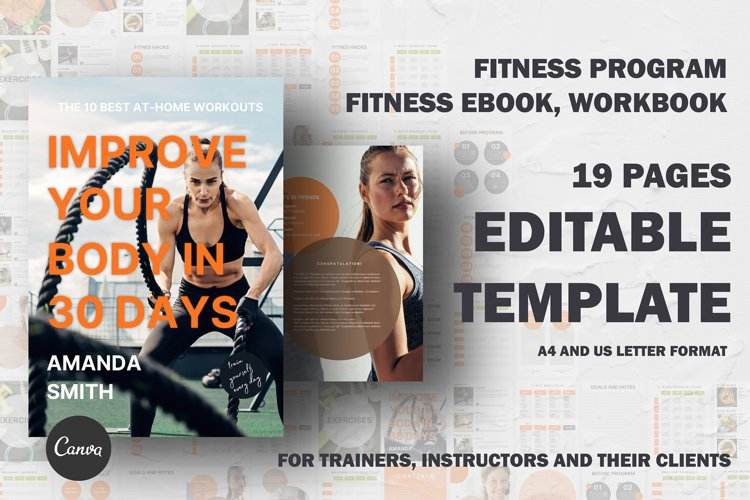 Fitness eBook, workbook canva template