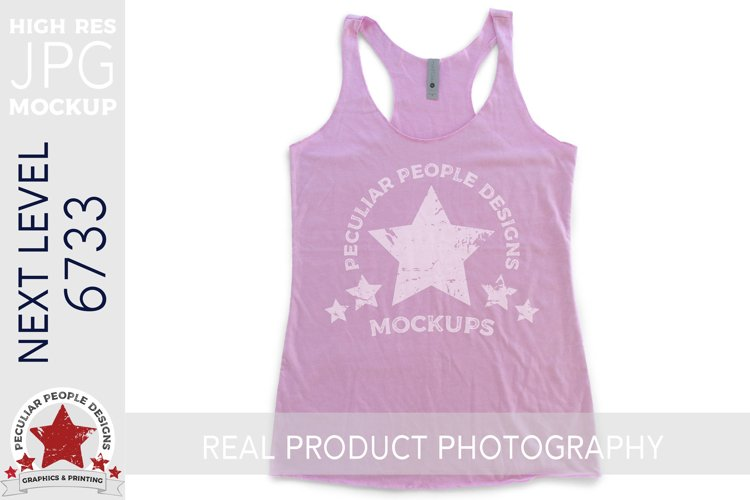 Racerback Tank Top Flat Lay Mock JPG, Next Level 6733 Lilac example image 1