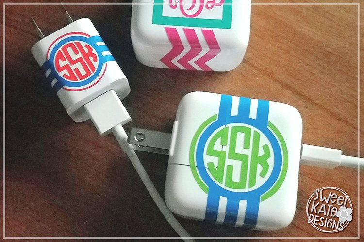 Charger Cord Monogram Wraps SVG DXF EPS example image 1
